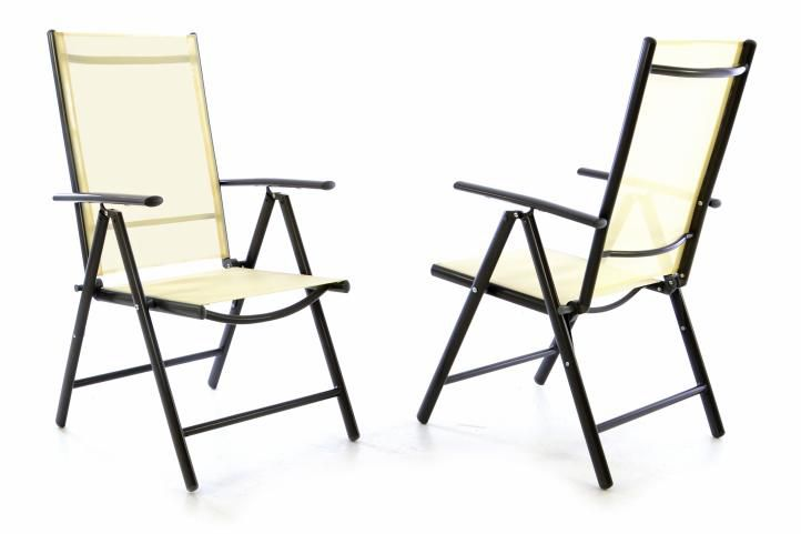 Sada dvoch záhradných polohovateľných stoličiek - krémová