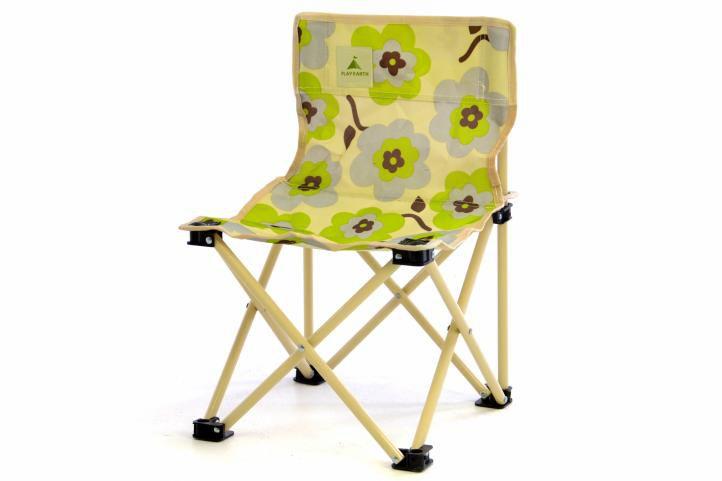 Detská skladacia stolička béžová - kvetinový vzor