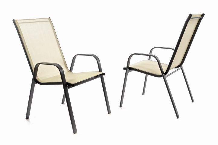Záhradná sada 2 x stohovateľná stolička balkónová - krémová
