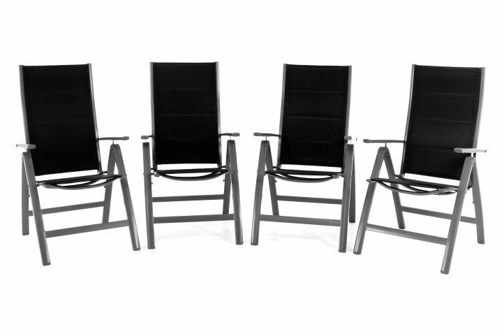 Sada 4 záhradných hliníkových stoličiek DELUXE - čierna