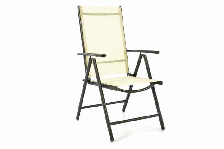 Záhradná polohovateľná stolička - krémová