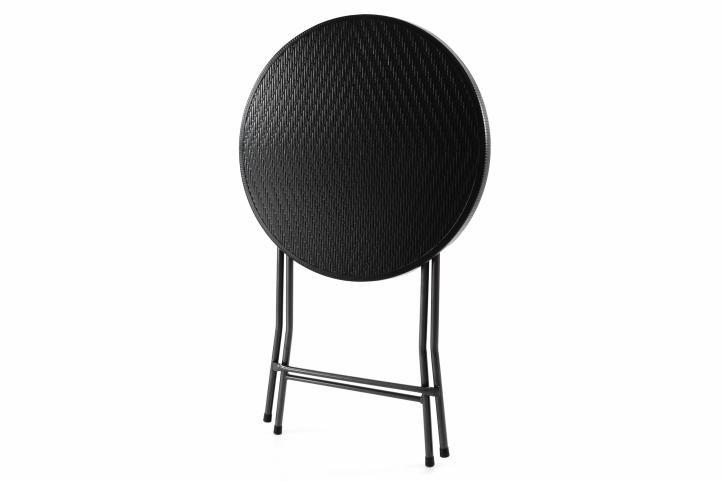 Záhradný barový stolík okrúhly - ratanová optika 110 cm - čierny
