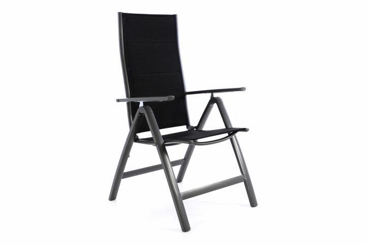Záhradná hliníková stolička DELUXE - čierna