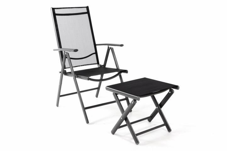 Záhradná polohovateľná stolička + stolička pod nohy - čierna