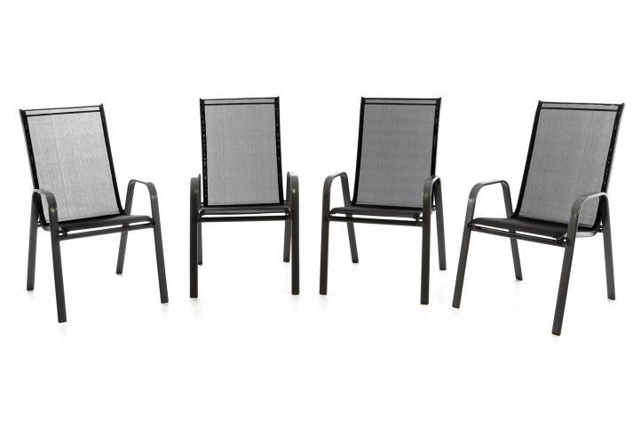 Záhradná sada 4 x stohovateľná stolička balkónová - čierna