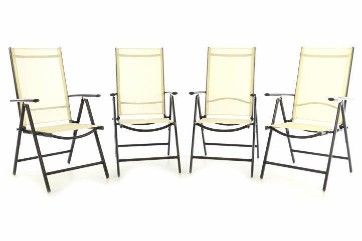 Sada štyroch záhradných polohovateľných stoličiek - krémová