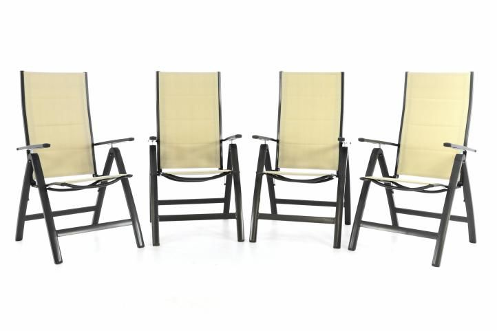 Sada 4 kusy: DELUXE Záhradná skladacia stolička - krémová