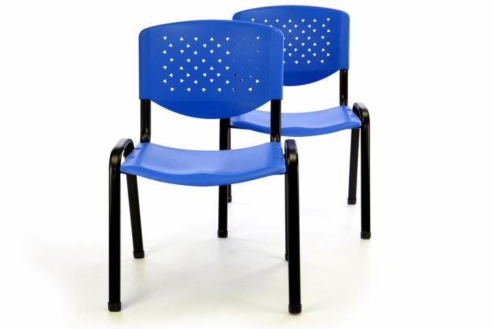 Sada 2 x stohovateľná plastová kancelárska stolička - modrá