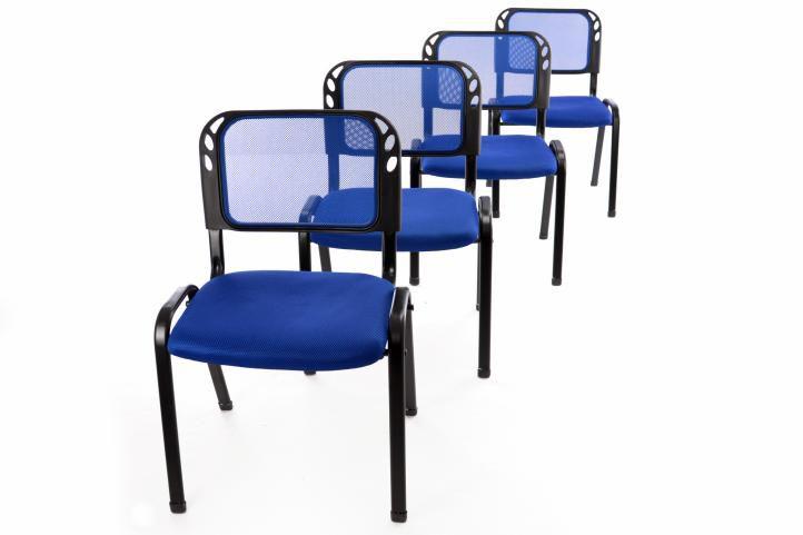 Sada 4 stohovateľných kongresových stoličiek - modrá