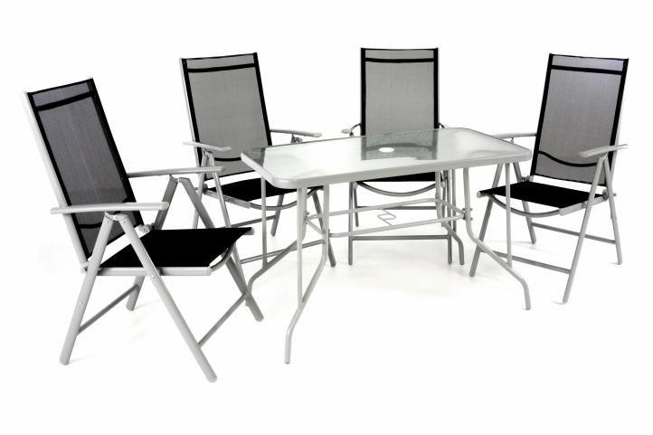 Záhradný skladací set stôl + 4 stohovateľné stoličky – čierna