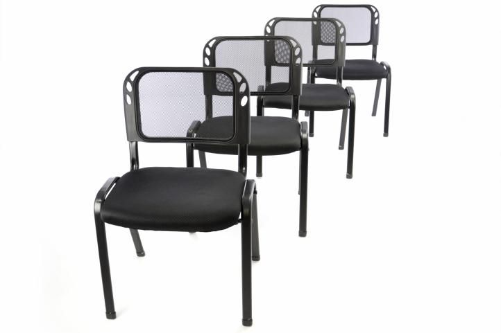 Sada 4 stohovateľných kongresových stoličiek - čierna