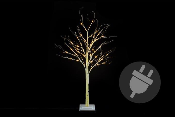 Dekoratívny strom breza 120 cm - 48 LED teplá biela