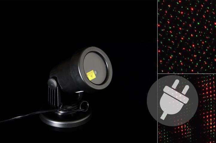 Vonkajší LED projektor - červená a zelená - dosah 15 - 20 m