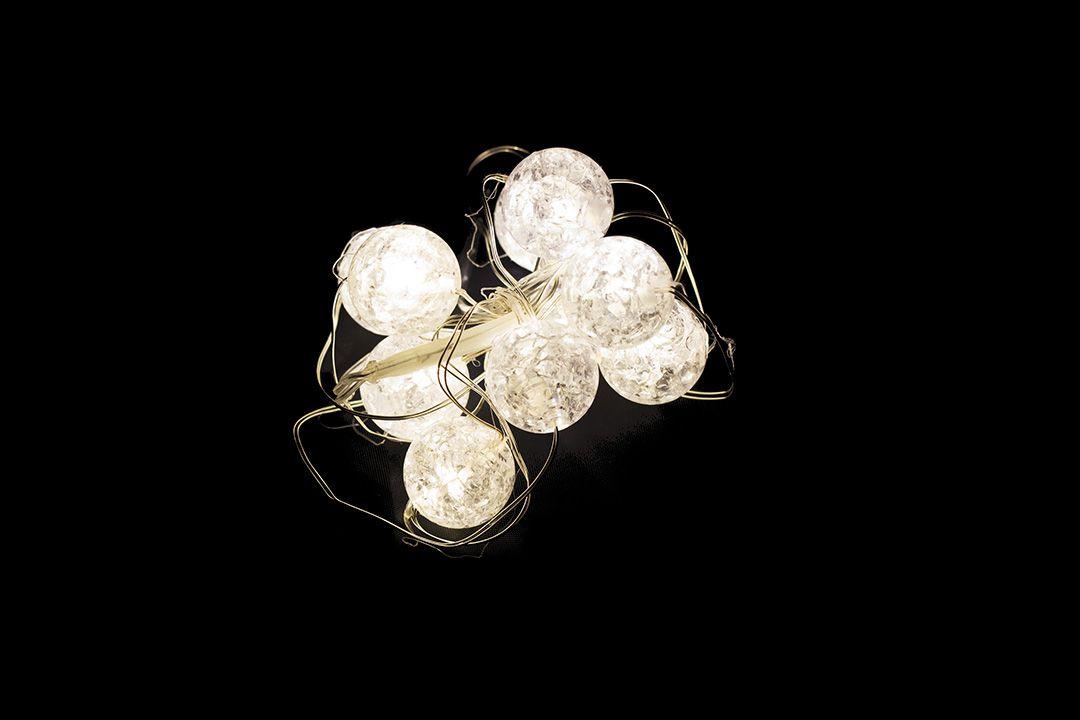 Vianočné dekoratívne osvetlenie – krištáľové guľôčky - 10 LED