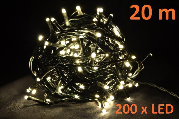 Vianočné LED osvetlenie 20 m - teplá biela, 200 diód
