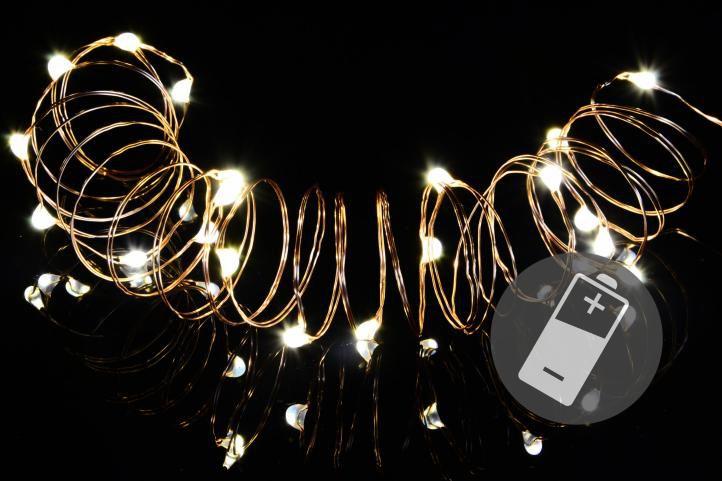 Vianočná svetelná reťaz - MINI 20 LED – teplá biela