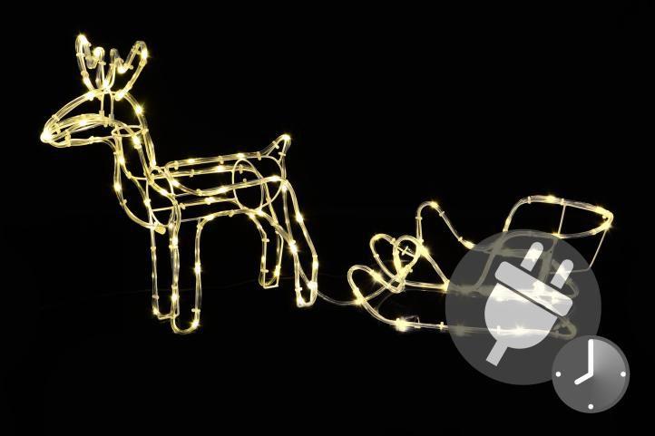 Svietiaci vianočný sob – svetelná dekorácia