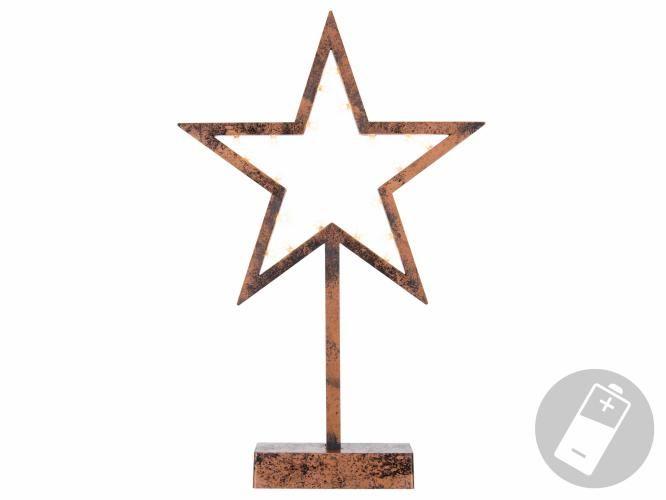 Vianočná dekorácia – Hviezda bronzová - 39 cm , 20 LED