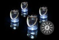 Sada 4 kusov solárneho osvetlenia - závesný pohár