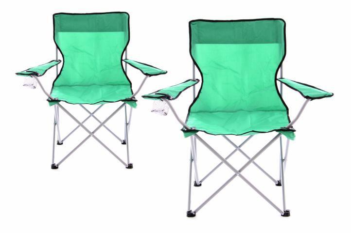 Sada 2 ks skladacia kempingová rybárska stolička OXFORD - zelená