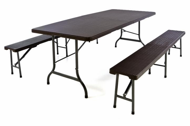 Záhradný set v ratanovej optike - stôl + 2 lavice - 180 cm