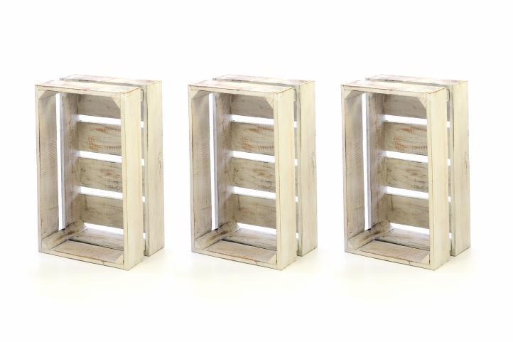 Sada 3x drevená debnička VINTAGE DIVERO biela - 44 x 28 x 19 cm