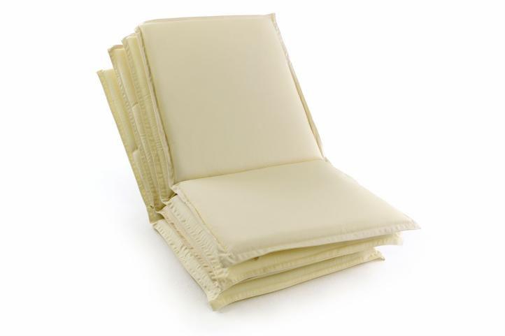 Sada 4 ks polstrovania na nízke záhradné stoličky - krémové