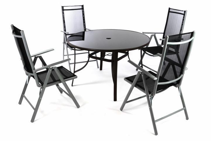 Záhradný set - 4 polohovateľné stoličky a stôl - čierna