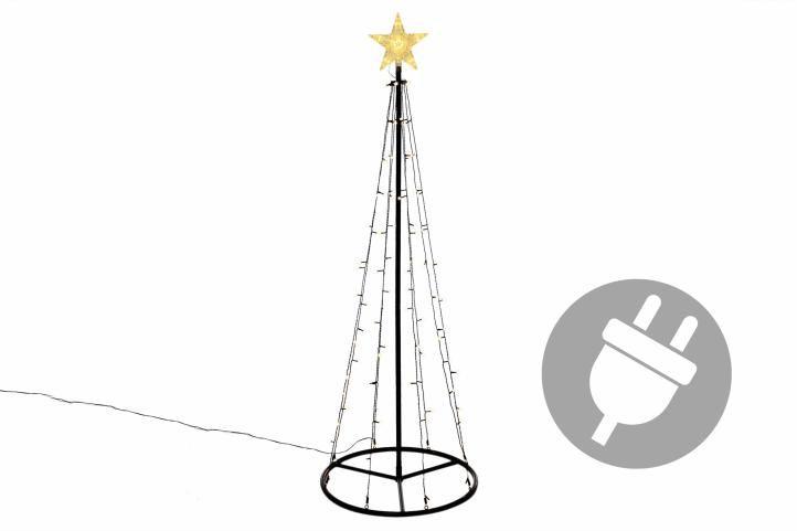 Vianočná dekorácia - svetelná pyramída stromček - 180 cm teplá biela