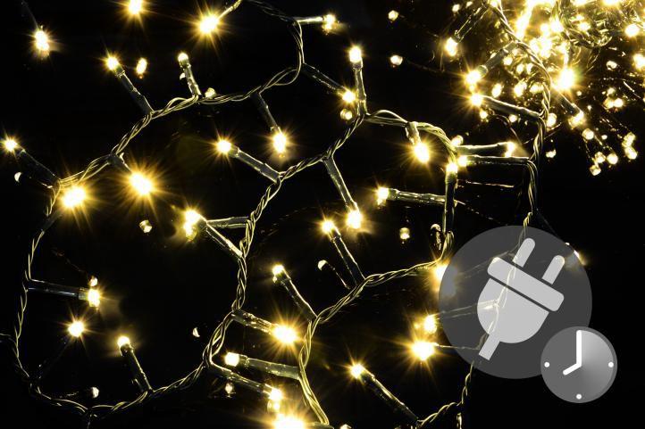 Vianočné LED osvetlenie 1 000 diód - bohatá reťaz - teplá biela 20 m