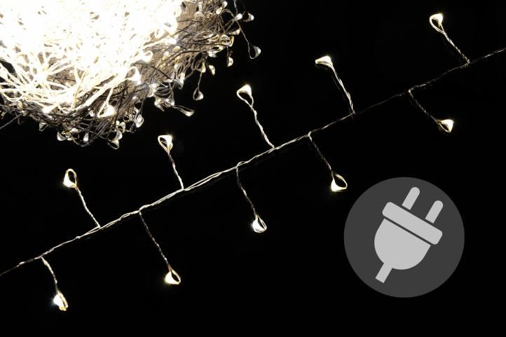 Vianočné LED osvetlenie 5 m - strieborný drôt - teplá biela 200 LED