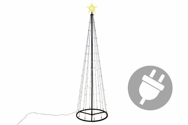 Vianočná dekorácia - svetelná pyramída stromček - 240 cm teplá biela