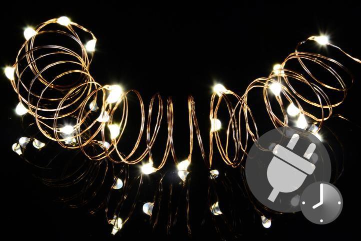 Vianočná svetelná reťaz - MINI 100 LED s časovačom - teplá biela