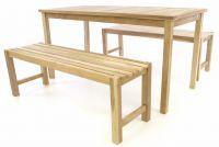 Záhradný set lavíc a stola DIVERO - neošetrené teakové drevo - 150 cm