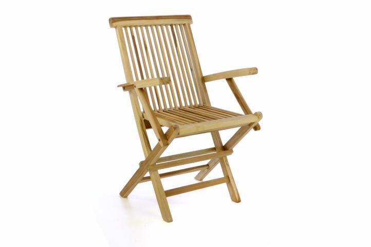 Záhradná stolička DIVERO skladacia – teakové drevo