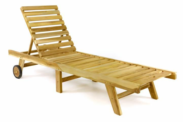 Polohovateľné lehátko z teakového dreva DIVERO
