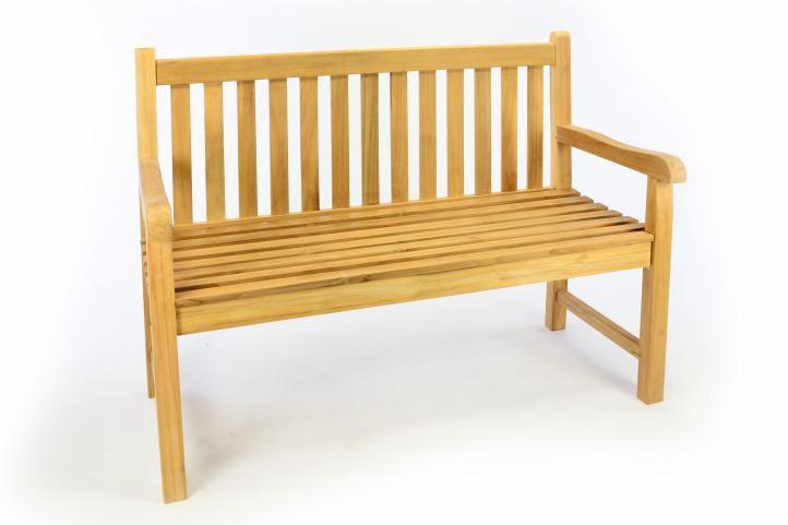 Záhradná drevená lavica DIVERO - neošetrené teakové drevo - 120 cm
