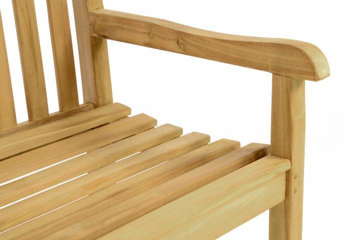Záhradná lavica DIVERO - ošetrené teakové drevo - 130 cm