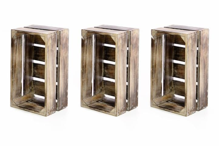 Sada 3x drevená debnička VINTAGE DIVERO hnedá - 51 x 36 x 23 cm
