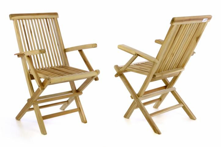 Sada 2 kusov skladacej stoličky DIVERO - teakové drevo