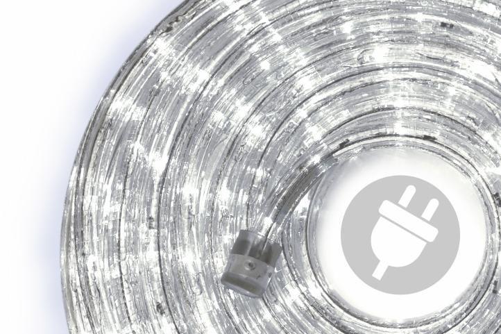 LED svetelný kábel - 480 diód, 20 m, studeno biely