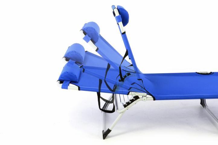 Kempingové záhradné ležadlo skladacie - modrá - II. akosť