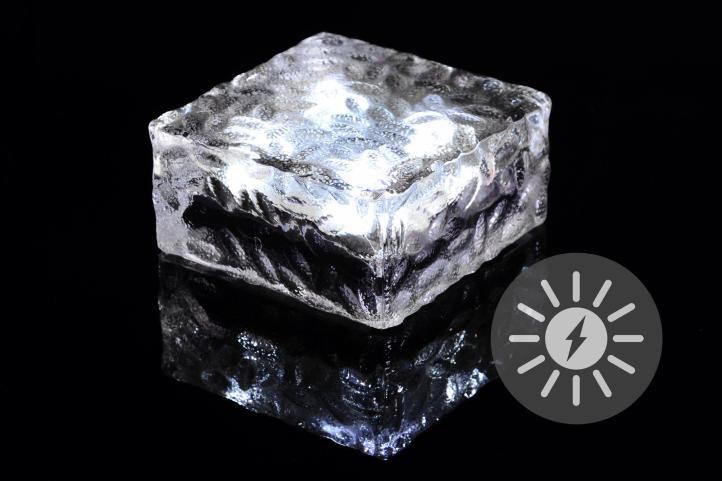 Vonkajšie solárne osvetlenie - sklenená kocka - biela 9,5 x 9,5 x 4,5 cm
