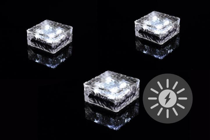 Sada 3 ks solárneho osvetlenia - sklenená kocka - biela