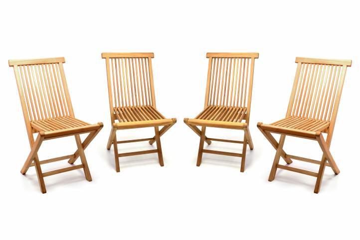 Sada 4 kusov - záhradné skladacie stoličky DIVERO - teak