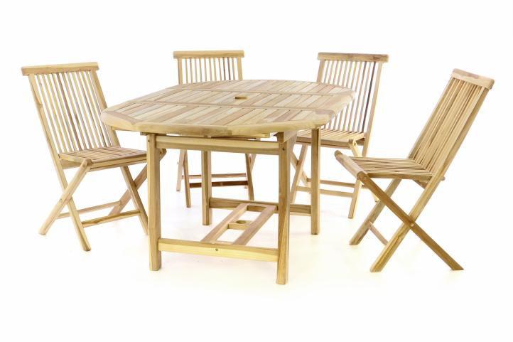 Záhradný set DIVERO z teakového dreva - stôl + 4 stoličky