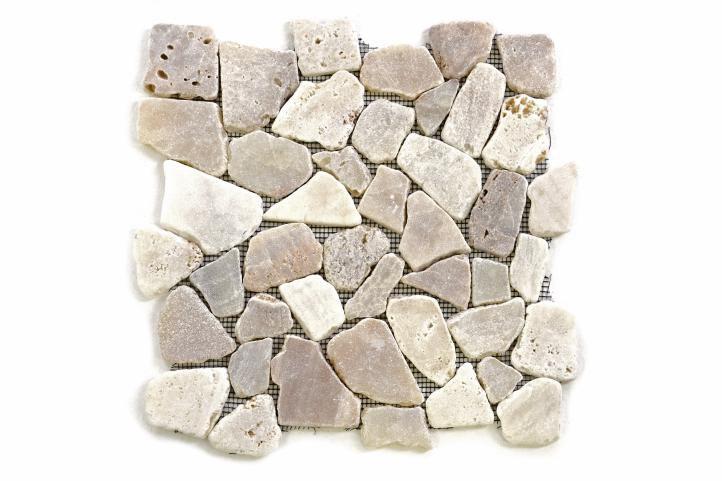 Mozaika riečny kameň - krémová – obklady 1m2 Garth