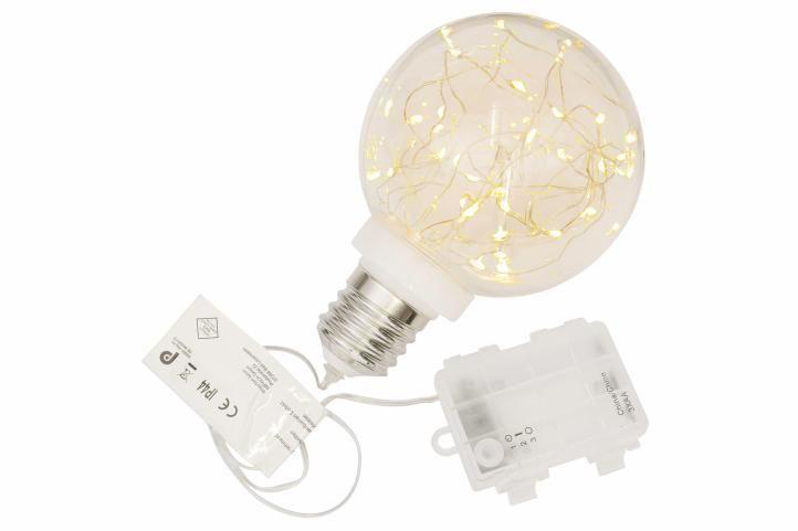 Vianočná dekorácia - žiarovka - 30 LED teplá biela