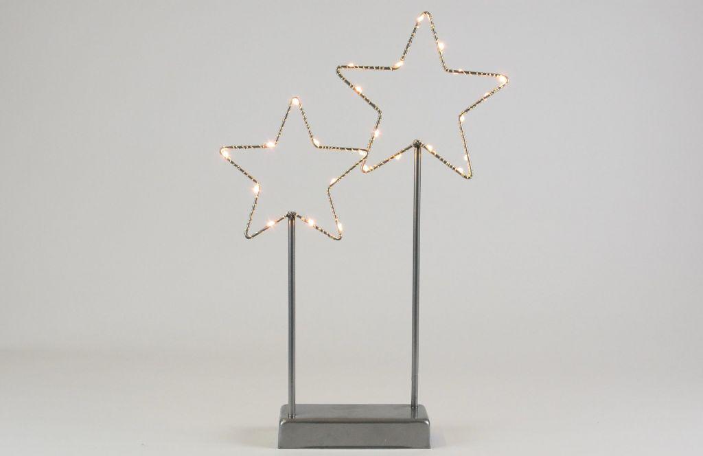 Vianočná LED dekorácia - kovové hviezdy - 25 LED sivá