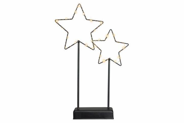 Vianočná LED dekorácia - kovové hviezdy - 25 LED čierna